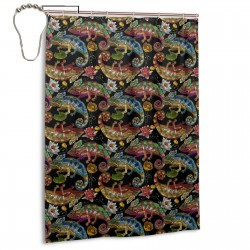 Colorful Chameleons Water Lilies Pattern Shower Curtain , Shower Bathroom Curtain 55x72 Inch Waterproof Fabric with Hooks , Wildly used in bathroom and hotel etc.