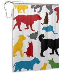 Colorful Cats And Dogs Pattern Shower Curtain , Shower Bathroom Curtain 55x72 Inch Waterproof Fabric with Hooks , Wildly used in bathroom and hotel etc.