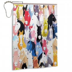 Colorful Cartoon Horses Shower Curtain , Shower Bathroom Curtain 55x72 Inch Waterproof Fabric with Hooks , Wildly used in bathroom and hotel etc.