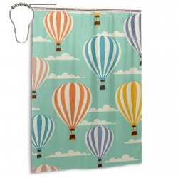 Colorful Cartoon Hot Air Balloon Pattern Shower Curtain , Shower Bathroom Curtain 55x72 Inch Waterproof Fabric with Hooks , Wildly used in bathroom and hotel etc.