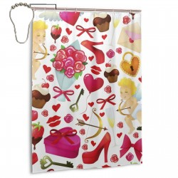 Colorful Cartoon Love Element With Flowers High Heeled Shoes Heart Shaped Cupid Shower Curtain , Shower Bathroom Curtain 55x72 Inch Waterproof Fabric with Hooks , Wildly used in bathroom and hotel etc.