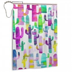 Colorful Cactus Shower Curtain , Shower Bathroom Curtain 55x72 Inch Waterproof Fabric with Hooks , Wildly used in bathroom and hotel etc.