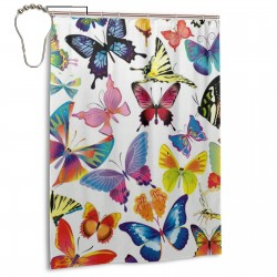 Colorful Butterflies Shower Curtain , Shower Bathroom Curtain 55x72 Inch Waterproof Fabric with Hooks , Wildly used in bathroom and hotel etc.