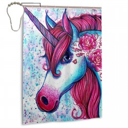 Colored Geometry Horse Head Shower Curtain , Shower Bathroom Curtain 55x72 Inch Waterproof Fabric with Hooks , Wildly used in bathroom and hotel etc.
