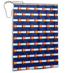 Colorado Flag Shower Curtain , Shower Bathroom Curtain 55x72 Inch Waterproof Fabric with Hooks , Wildly used in bathroom and hotel etc.