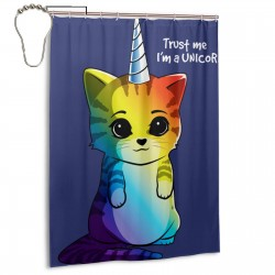 Color Unicorn Cat Shower Curtain , Shower Bathroom Curtain 55x72 Inch Waterproof Fabric with Hooks , Wildly used in bathroom and hotel etc.