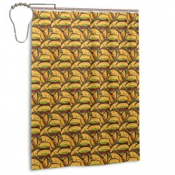 Color Hamburger Pattern Shower Curtain , Shower Bathroom Curtain 55x72 Inch Waterproof Fabric with Hooks , Wildly used in bathroom and hotel etc.