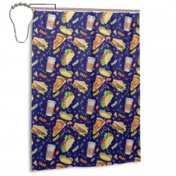Coffee Sandwiches Slices Pizza Shower Curtain , Shower Bathroom Curtain 55x72 Inch Waterproof Fabric with Hooks , Wildly used in bathroom and hotel etc.