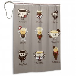Coffee Personality Shower Curtain , Shower Bathroom Curtain 55x72 Inch Waterproof Fabric with Hooks , Wildly used in bathroom and hotel etc.