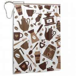 Coffee Icons Pattern Shower Curtain , Shower Bathroom Curtain 55x72 Inch Waterproof Fabric with Hooks , Wildly used in bathroom and hotel etc.