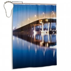 City Night Scene Bridge Shower Curtain , Shower Bathroom Curtain 55x72 Inch Waterproof Fabric with Hooks , Wildly used in bathroom and hotel etc.