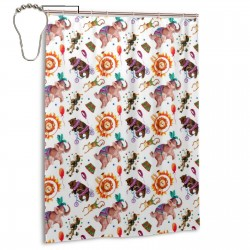 Circus Pattern Shower Curtain , Shower Bathroom Curtain 55x72 Inch Waterproof Fabric with Hooks , Wildly used in bathroom and hotel etc.