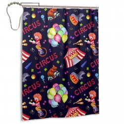 Circus Clown Shower Curtain , Shower Bathroom Curtain 55x72 Inch Waterproof Fabric with Hooks , Wildly used in bathroom and hotel etc.