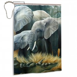 The Elephant Family Shower Curtain , Shower Bathroom Curtain 55x72 Inch Waterproof Fabric with Hooks , Wildly used in bathroom and hotel etc.