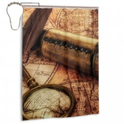 Spyglass Lying On An Old Map.jpeg Shower Curtain , Shower Bathroom Curtain 55x72 Inch Waterproof Fabric with Hooks , Wildly used in bathroom and hotel etc.