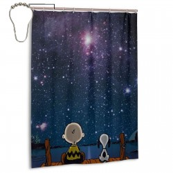Spaced Out - Peanuts Shower Curtain , Shower Bathroom Curtain 55x72 Inch Waterproof Fabric with Hooks , Wildly used in bathroom and hotel etc.