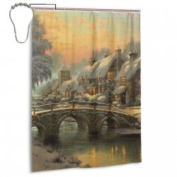 Snow House In Winter Shower Curtain , Shower Bathroom Curtain 55x72 Inch Waterproof Fabric with Hooks , Wildly used in bathroom and hotel etc.