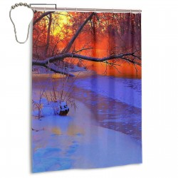 Scenery Of Trees In The Snow At Sunset Shower Curtain , Shower Bathroom Curtain 55x72 Inch Waterproof Fabric with Hooks , Wildly used in bathroom and hotel etc.