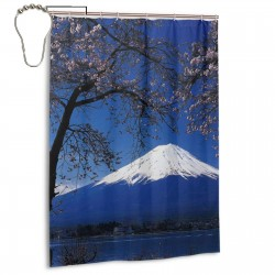 Sakura Snow Mountain Shower Curtain , Shower Bathroom Curtain 55x72 Inch Waterproof Fabric with Hooks , Wildly used in bathroom and hotel etc.