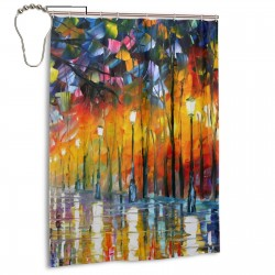 Road Forest Oil Painting Shower Curtain , Shower Bathroom Curtain 55x72 Inch Waterproof Fabric with Hooks , Wildly used in bathroom and hotel etc.