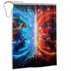 Red And Blue Shower Curtain , Shower Bathroom Curtain 55x72 Inch Waterproof Fabric with Hooks , Wildly used in bathroom and hotel etc.