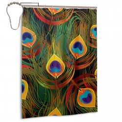 Peacock Feathers Shower Curtain , Shower Bathroom Curtain 55x72 Inch Waterproof Fabric with Hooks , Wildly used in bathroom and hotel etc.