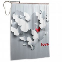 Paper Butterflies Shower Curtain , Shower Bathroom Curtain 55x72 Inch Waterproof Fabric with Hooks , Wildly used in bathroom and hotel etc.