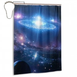 Moon Galaxy Shower Curtain , Shower Bathroom Curtain 55x72 Inch Waterproof Fabric with Hooks , Wildly used in bathroom and hotel etc.
