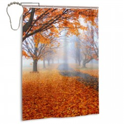 Maple Leaf Forest Shower Curtain , Shower Bathroom Curtain 55x72 Inch Waterproof Fabric with Hooks , Wildly used in bathroom and hotel etc.