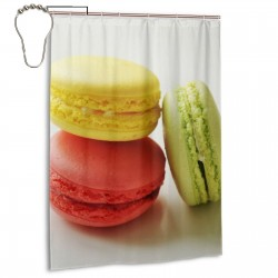 Macaroon Shower Curtain , Shower Bathroom Curtain 55x72 Inch Waterproof Fabric with Hooks , Wildly used in bathroom and hotel etc.