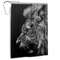 Lion Roaring Shower Curtain , Shower Bathroom Curtain 55x72 Inch Waterproof Fabric with Hooks , Wildly used in bathroom and hotel etc.