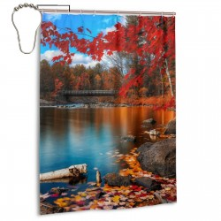 Lake Forest Fall Scene Shower Curtain , Shower Bathroom Curtain 55x72 Inch Waterproof Fabric with Hooks , Wildly used in bathroom and hotel etc.