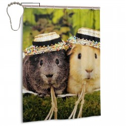 Hamsters In Hats.jpeg Shower Curtain , Shower Bathroom Curtain 55x72 Inch Waterproof Fabric with Hooks , Wildly used in bathroom and hotel etc.