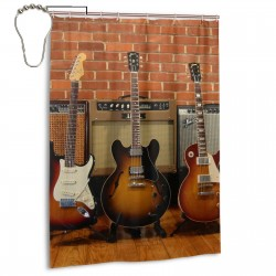 Guitar Electric Musical Instrument Wood Shower Curtain , Shower Bathroom Curtain 55x72 Inch Waterproof Fabric with Hooks , Wildly used in bathroom and hotel etc.