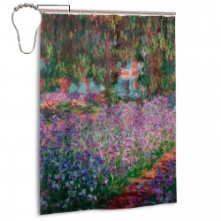 Garden Nature Flowers Trees Oil Painting Shower Curtain , Shower Bathroom Curtain 55x72 Inch Waterproof Fabric with Hooks , Wildly used in bathroom and hotel etc.