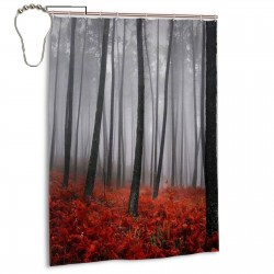 Forest Red Grass Flower Rainy Foggy Shower Curtain , Shower Bathroom Curtain 55x72 Inch Waterproof Fabric with Hooks , Wildly used in bathroom and hotel etc.