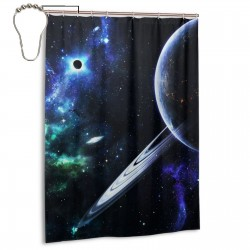 Galactic Starry Sky Shower Curtain , Shower Bathroom Curtain 55x72 Inch Waterproof Fabric with Hooks , Wildly used in bathroom and hotel etc.