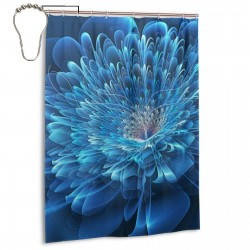 Flower Of Blue Beauty Shower Curtain , Shower Bathroom Curtain 55x72 Inch Waterproof Fabric with Hooks , Wildly used in bathroom and hotel etc.