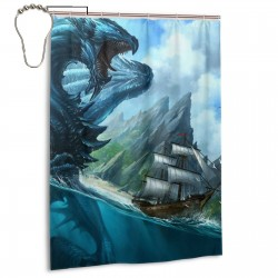 Dragon In The Sea Shower Curtain , Shower Bathroom Curtain 55x72 Inch Waterproof Fabric with Hooks , Wildly used in bathroom and hotel etc.