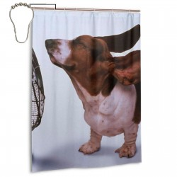 Dogs With Electric Fans Shower Curtain , Shower Bathroom Curtain 55x72 Inch Waterproof Fabric with Hooks , Wildly used in bathroom and hotel etc.