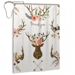 Deer Horn With Flower Shower Curtain , Shower Bathroom Curtain 55x72 Inch Waterproof Fabric with Hooks , Wildly used in bathroom and hotel etc.
