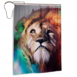 Colorful Lions Shower Curtain , Shower Bathroom Curtain 55x72 Inch Waterproof Fabric with Hooks , Wildly used in bathroom and hotel etc.