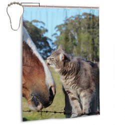 Cat Lick The Horse Shower Curtain , Shower Bathroom Curtain 55x72 Inch Waterproof Fabric with Hooks , Wildly used in bathroom and hotel etc.