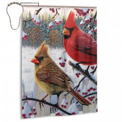 Cardinals Birds In Winter Shower Curtain , Shower Bathroom Curtain 55x72 Inch Waterproof Fabric with Hooks , Wildly used in bathroom and hotel etc.