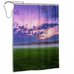 Blue Sky And White Cloud Grassland Shower Curtain , Shower Bathroom Curtain 55x72 Inch Waterproof Fabric with Hooks , Wildly used in bathroom and hotel etc.