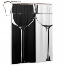 Black And White Cup Shower Curtain , Shower Bathroom Curtain 55x72 Inch Waterproof Fabric with Hooks , Wildly used in bathroom and hotel etc.