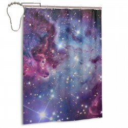 Beautiful Galaxy Shower Curtain , Shower Bathroom Curtain 55x72 Inch Waterproof Fabric with Hooks , Wildly used in bathroom and hotel etc.