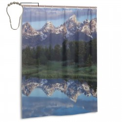 Wyoming, Grand Teton National Park Shower Curtain , Shower Bathroom Curtain 55x72 Inch Waterproof Fabric with Hooks , Wildly used in bathroom and hotel etc.