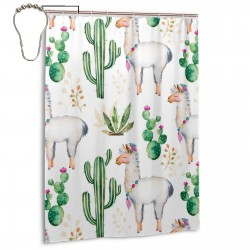 Watercolor Camel Cactus Shower Curtain , Shower Bathroom Curtain 55x72 Inch Waterproof Fabric with Hooks , Wildly used in bathroom and hotel etc.