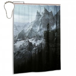 Skyrim Mountain Shower Curtain , Shower Bathroom Curtain 55x72 Inch Waterproof Fabric with Hooks , Wildly used in bathroom and hotel etc.